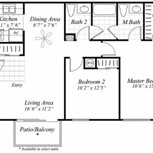 Two bedroom one and a half bathroom B1 floor plan at Brentwood Apartment Homes in Manassas, VA