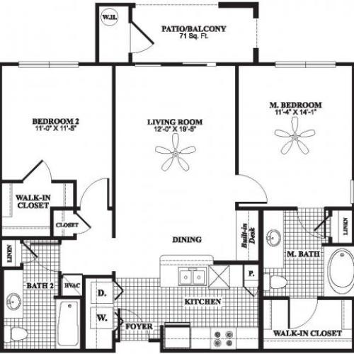 Two bedroom two bathroom B1 floorplan at The Preserve at Catons Crossing Apartments in Woodbridge, VA