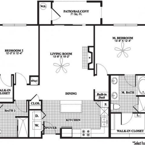Two bedroom two bathroom B3 floorplan at The Preserve at Catons Crossing Apartments in Woodbridge, VA
