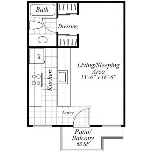 Studio one bathroom floorplan at Turnleaf Apartments in San Jose, CA