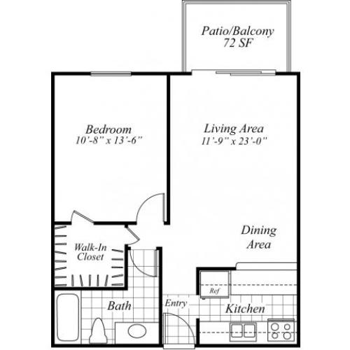 One bedroom one bathroom A1 floorplan at Turnleaf Apartments in San Jose, CA