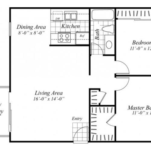 Two bedroom one bathroom B1.1 floorplan at Turnleaf Apartments in San Jose, CA
