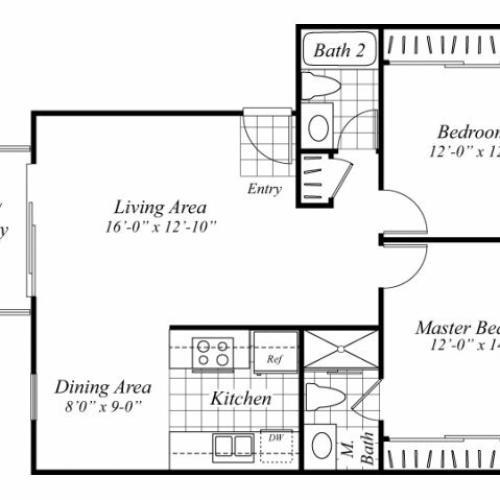 Two bedroom two bathroom B2 floorplan at Turnleaf Apartments in San Jose, CA