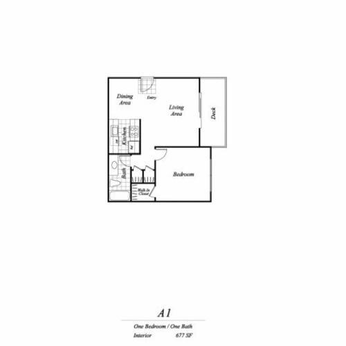 One bedroom one bathroom A1 floorplan at Timberleaf Apartments in Lakewood, CO