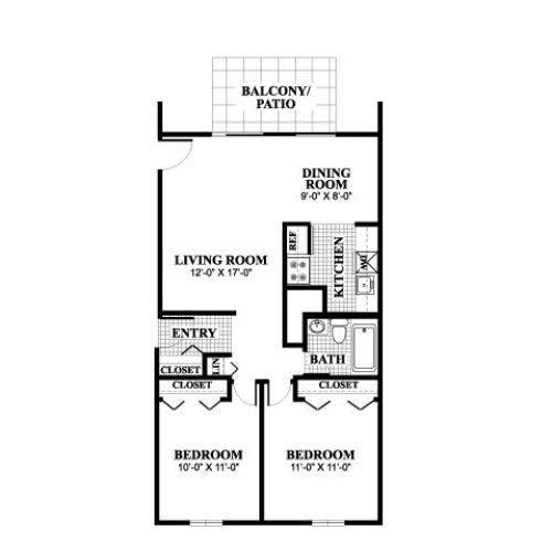 Two bedroom one bathroom Wayland A floorplan at University Heights Apartments in Providence, RI