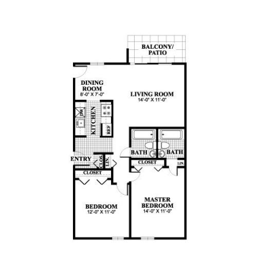 Two bedroom two bathroom Thayer A floorplan at University Heights Apartments in Providence, RI