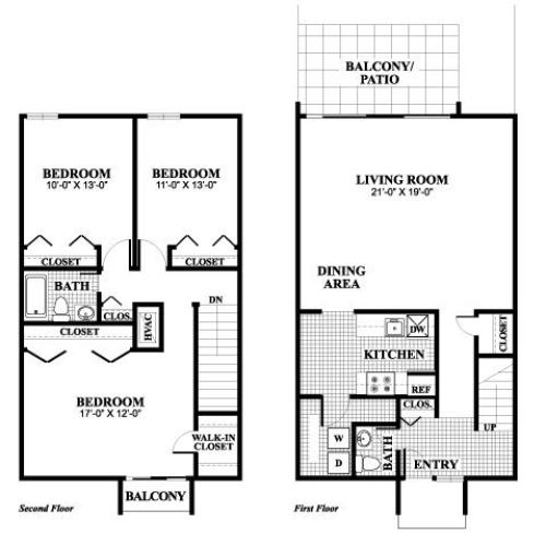 Three bedroom one and a half bathroom LaSalle floorplan at University Heights Apartments in Providence, RI