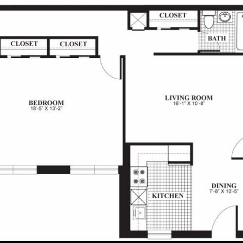 One bedroom one bathroom A2 floorplan at The Barrington Apartments in Silver Spring, MD