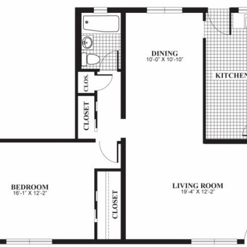 One bedroom one bathroom A4 floorplan at The Barrington Apartments in Silver Spring, MD