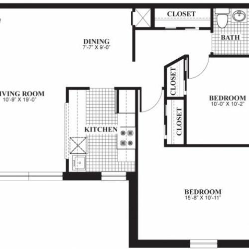 Two bedroom one bathroom B2 floorplan at The Barrington Apartments in Silver Spring, MD