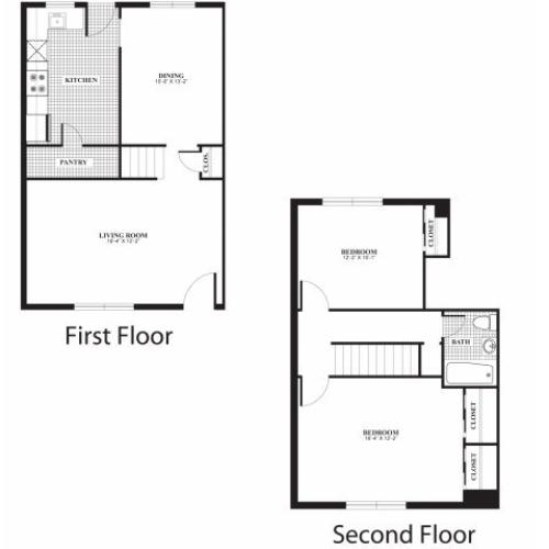 Two bedroom one bathroom B4 and B5 floorplan at The Barrington Apartments in Silver Spring, MD