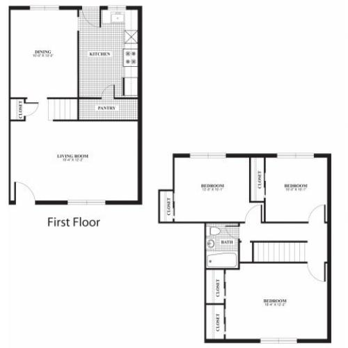 Three bedroom one bathroom C1 and C2 floorplan at The Barrington Apartments in Silver Spring, MD