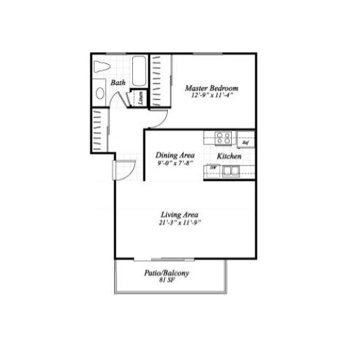 One bedroom one bathroom A1 floorplan at Wyndover Apartment Homes in Novato, CA