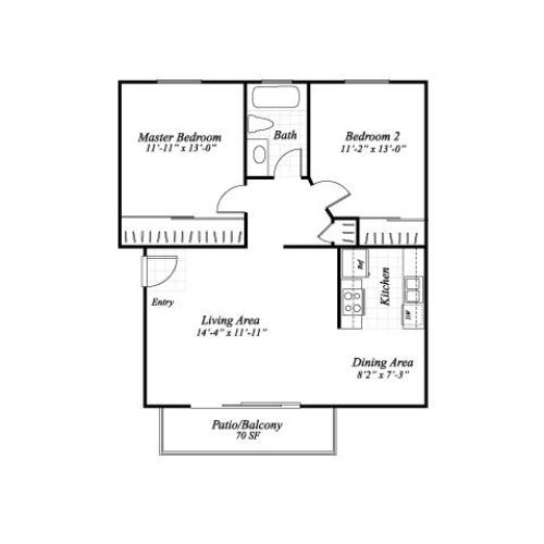 Two bedroom one bathroom B1 floorplan at Wyndover Apartment Homes in Novato, CA