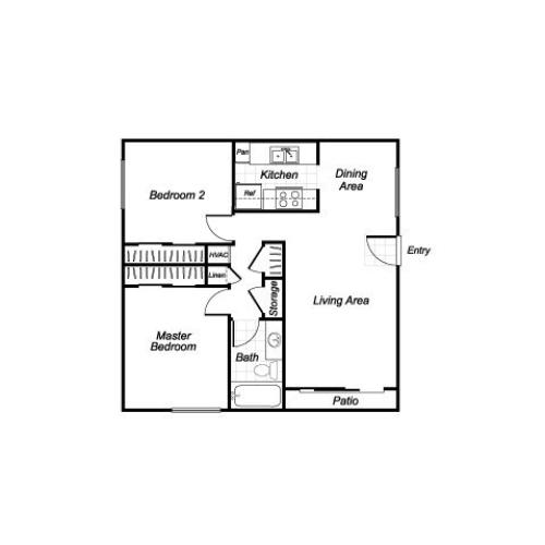 Two bedroom one bathroom B1 floorplan at Westchester Park Apartments in Tustin, CA