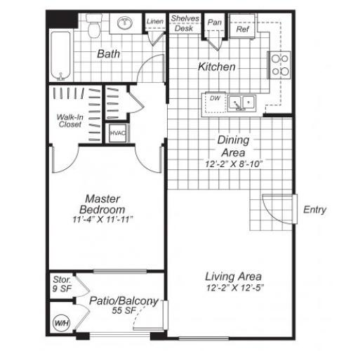 One bedroom one bathroom A2 floor plan at Bristol Apartment Homes in Dixon, CA