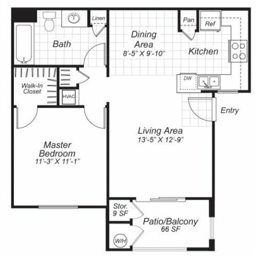 One bedroom one bathroom A1 floor plan at Bristol Apartment Homes in Dixon, CA