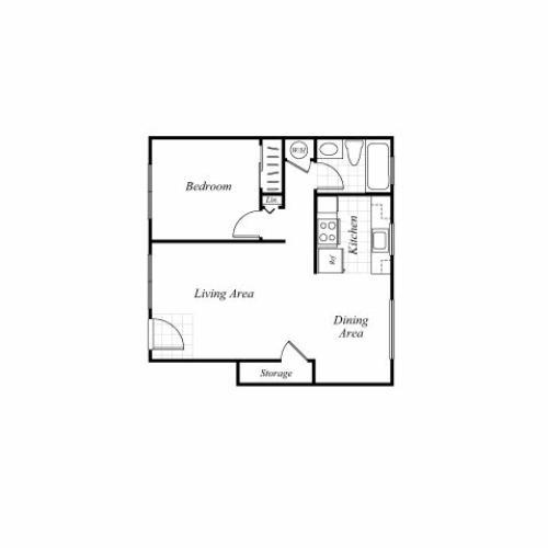 One bedroom one bathroom A1 floorplan at Trestles Apartments in San Jose, CA
