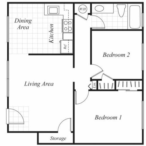 Two bedroom one bathroom B1 floorplan at Trestles Apartments in San Jose, CA
