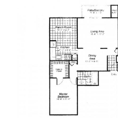 One bedroom one bathroom A2 Floorplan at Oakfield Apartment Homes in Wheaton, MD