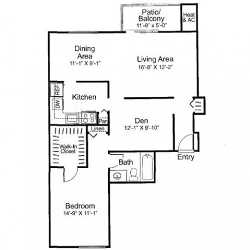 One bedroom one bathroom A3 Floorplan at Oakfield Apartment Homes in Wheaton, MD