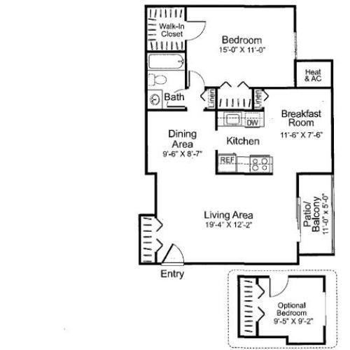 Two bedroom one bathroom B1 Floorplan at Oakfield Apartment Homes in Wheaton, MD