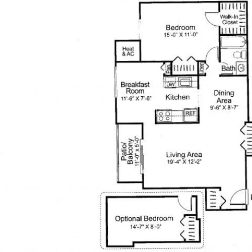 Two bedroom one bathroom B2 Floorplan at Oakfield Apartment Homes in Wheaton, MD