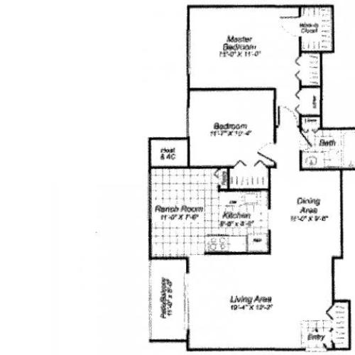 Two bedroom one bathroom B3 Floorplan at Oakfield Apartment Homes in Wheaton, MD