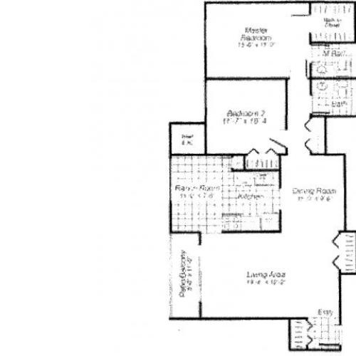 Two bedroom two bathroom B5 Floorplan at Oakfield Apartment Homes in Wheaton, MD