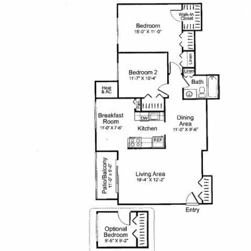 Three bedroom one bathroom C1 Floorplan at Oakfield Apartment Homes in Wheaton, MD