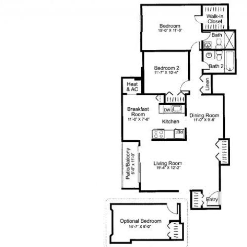 Three bedroom two bathroom C2 Floorplan at Oakfield Apartment Homes in Wheaton, MD
