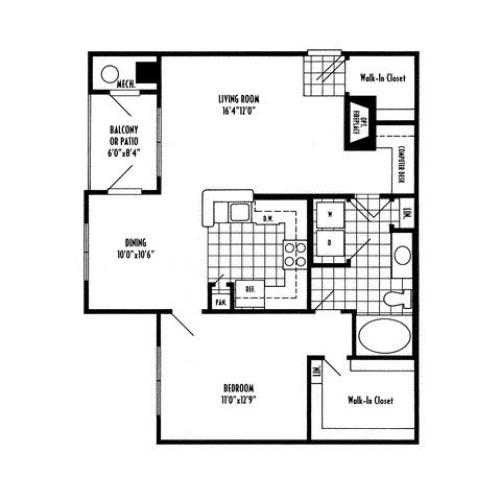 One bedroom one bathroom A3 Floorplan at River Pointe at Den Rock Apartments in Lawrence, MA