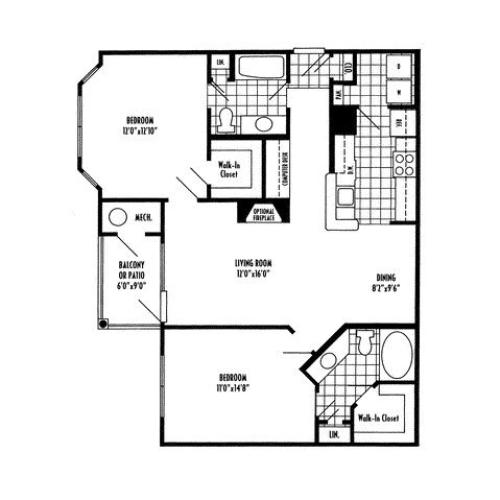 Two bedroom two bathroom B1 Floorplan at River Pointe at Den Rock Apartments in Lawrence, MA