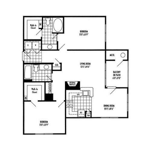 Two bedroom two bathroom B2 Floorplan at River Pointe at Den Rock Apartments in Lawrence, MA