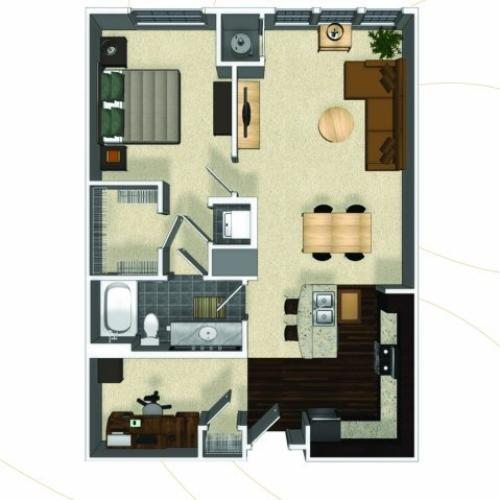 One bedroom one bathroom A6 floorplan at The Enclave at Potomac Club Apartments in Woodbridge, VA