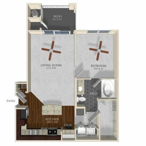 1 bedroom 1 bathroom apartment A1 floorplan at Atley on the Greenway in Ashburn, VA