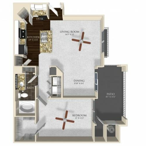 1 bedroom 1 bathroom apartment A2 floorplan at Atley on the Greenway in Ashburn, VA