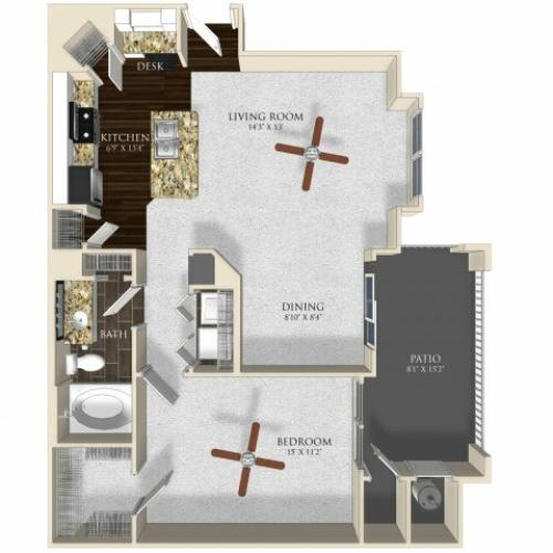 1 bedroom 1 bathroom apartment A22 floorplan at Atley on the Greenway in Ashburn, VA