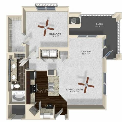 1 bedroom 1 bathroom apartment A3 floorplan at Atley on the Greenway in Ashburn, VA