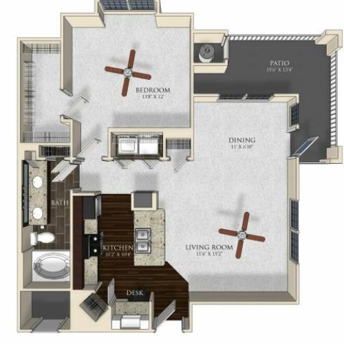 1 bedroom 1 bathroom apartment A32 floorplan at Atley on the Greenway in Ashburn, VA