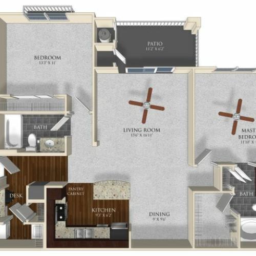 2 bedroom 2 bathroom apartment B1 floor plan at Atley on the Greenway in Ashburn, VA