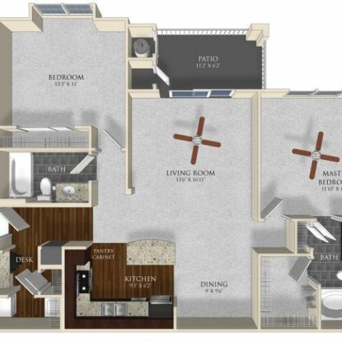 2 bedroom 2 bathroom apartment B12 floor plan at Atley on the Greenway in Ashburn, VA