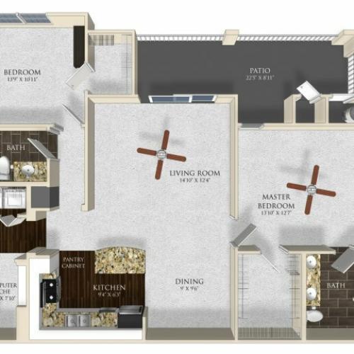 2 bedroom 2 bathroom apartment B2 floor plan at Atley on the Greenway in Ashburn, VA