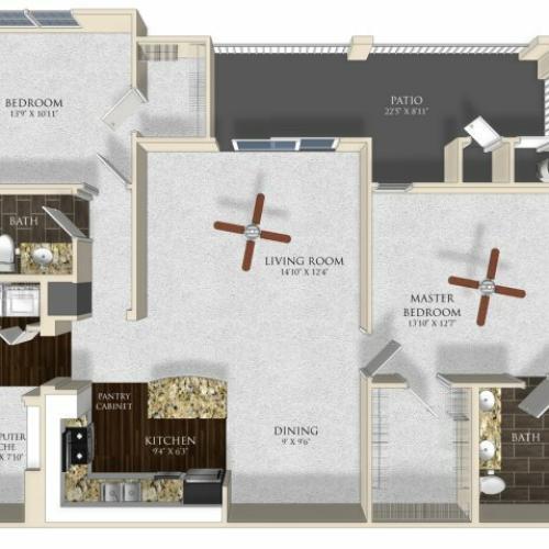 2 bedroom 2 bathroom apartment B22 floor plan at Atley on the Greenway in Ashburn, VA