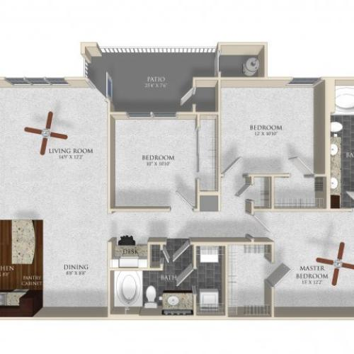 3 bedroom 2 bathroom apartment C1 floor plan at Atley on the Greenway in Ashburn, VA