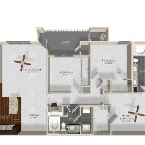 3 bedroom 2 bathroom apartment C12 floor plan at Atley on the Greenway in Ashburn, VA