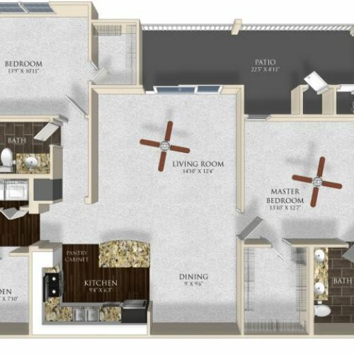 2 bedroom 2 bathroom apartment B23 floor plan at Atley on the Greenway in Ashburn, VA