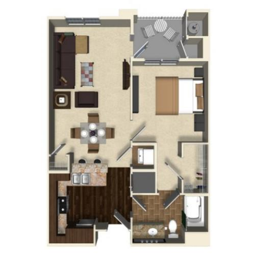 1 bedroom 1 bathroom apartment A4 floor plan at The Verdant Apartments  in San Jose. 1 Bed   1 Bath Apartment in San Jose CA   The Verdant Apartments