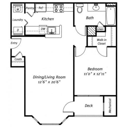 1 bedroom 1 bathroom A1 floor plan at Grand Reserve Orange Apartments in Orange, CT