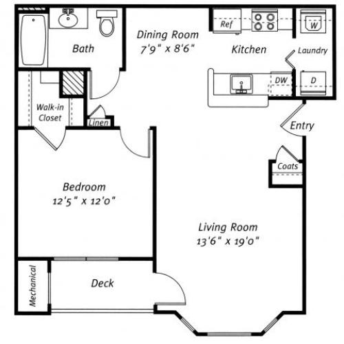 1 bedroom 1 bathroom A2 floor plan at Grand Reserve Orange Apartments in Orange, CT